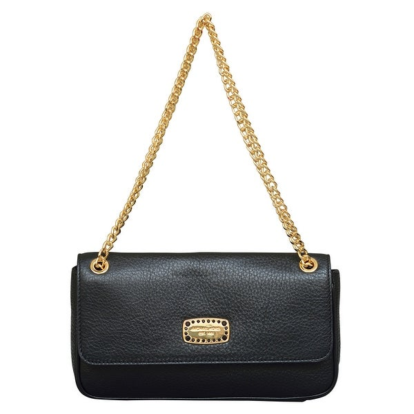 shop michael kors small jet set jewel black leather shoulder flap rh overstock com