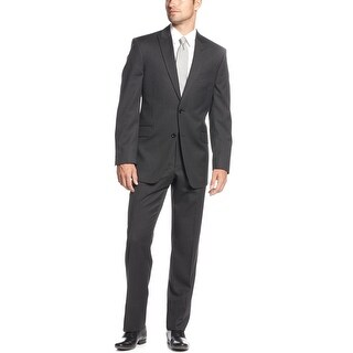 Tommy Hilfiger Tomson Charcoal Striped Wool Suit 36 Short 36S Pants 30W