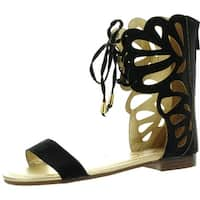 Anna Fantacy-3 Lady Mid Calf Boot Cut Out Lace Up Gladiator Cage Flat Zip Sandal - Tan