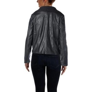 BB Dakota Womens Faux Leather Knit Trim Jacket