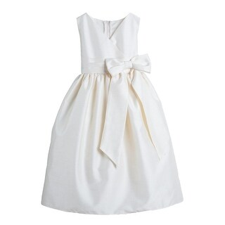 Sweet Kids Ivory V-neck Polysilk Bow Special Occasion Dress 4-12