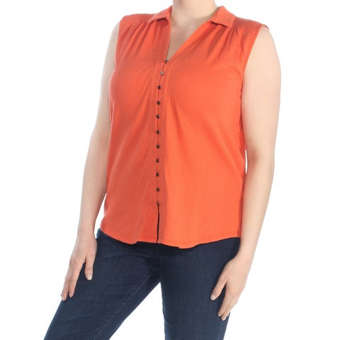 LUCKY BRAND Womens Orange Sleeveless Collared Button Up Wear To Work Top Size: XL