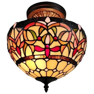 Link to Tiffany Style Stained Glass Semi-flush Pendant Lamp from Amora Lighting Similar Items in Pendant Lights