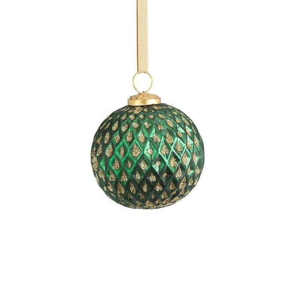"4"" Beehive Green with Gold Glitter Ball Ornaments, Set of 6. Opens flyout."