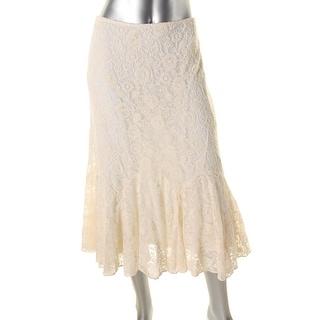 Lauren Ralph Lauren Womens Lace Mid-Calf Flounce Skirt