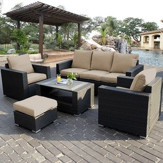 Costway 7PC Outdoor Patio Sectional Furniture PE Wicker Rattan Sofa Set  Deck Couch