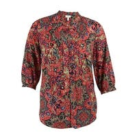 Charter Club Women's Paisley Print Pintucked Blouse - Coral Tile Combo - 0X
