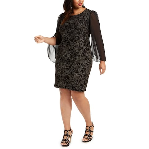 Connected Womens Glitter Burnout Black Size 20W Plus Sheath Dress
