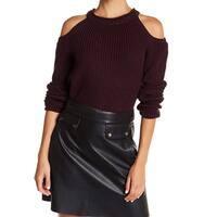 Elodie Purple Women's Size Medium M Cold-Shoulder Knit Sweater
