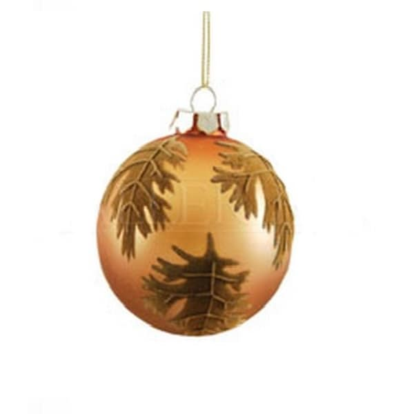 "Decorative Orange and Brown Leaf Damask Glass Ball Christmas Ornament 3.25"" (80mm)"
