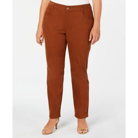 Style & Co Women's Plus Size High-Rise Slim-Leg Jeans Brown Size 18