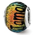 Sterling Silver Reflections Jamaica Orange Dichroic Glass Bead (4mm Diameter Hole) - Thumbnail 0