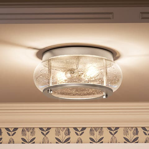 """Luxury Utilitarian Ceiling Light, 5.75""""H x 12""""W, with Coastal Style, Brushed Nickel, UQL3290 by Urban Ambiance"""
