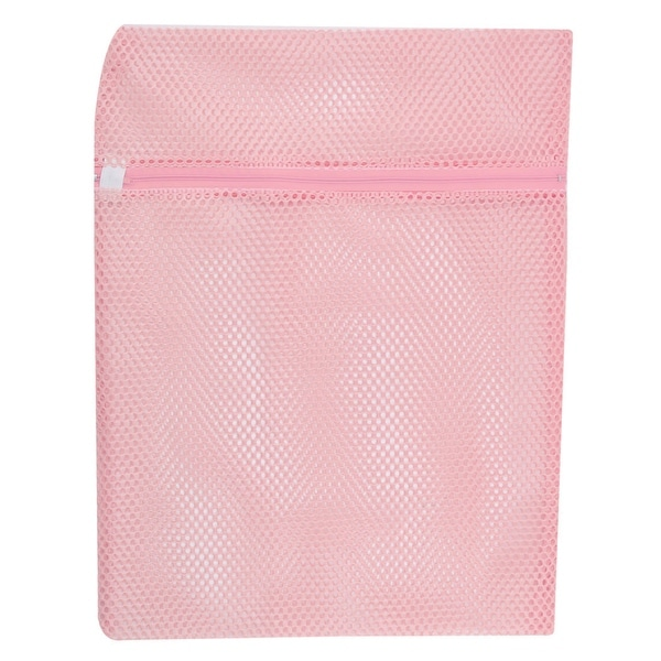 Household Polyester Zipper Closure Socks Underwear Clothes Washing Bag Pink