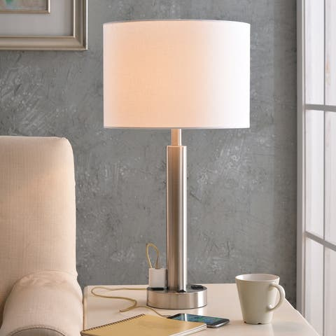 """Nora 27"""" Brushed Steel Table Lamp - 2 Outlets"""