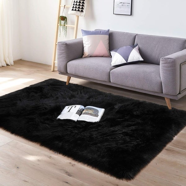 Soft Fluffy Bedroom Rugs 3 x 5 Feet Indoor Wool Sheepskin Area Rug for Girls Baby Room Chair Sofa Floor Carpet, Black. Opens flyout.