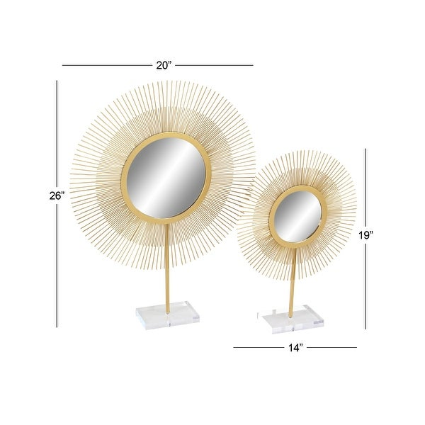 Gold Iron Glam Sculpture Geometric (Set of 2)