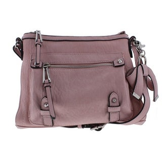 Jessica Simpson Womens Tatiana Faux Leather Metallic Crossbody Handbag - misty pink - Medium