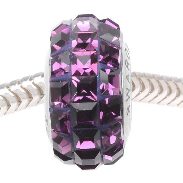 Swarovski Crystal, 81201 BeCharmed Pave Squares Slim European Style Lg Hole Bead 13mm, 1 Piece, Amethyst