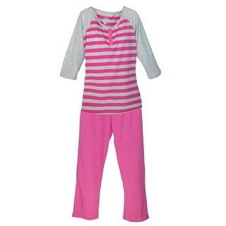 Hanes Women's Striped Henley and Knit Pant Pajama Set