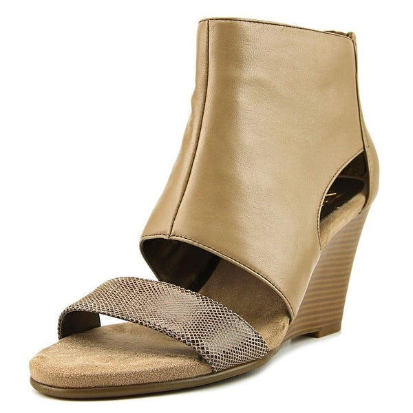 Aerosoles High Gloss Women Open Toe Leather Tan Wedge Sandal