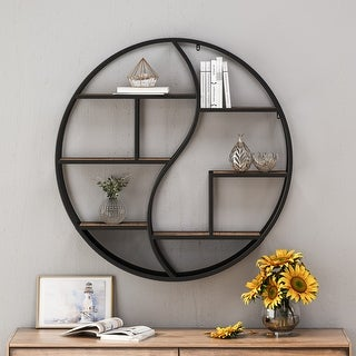 """Link to Buckthorn Industrial Circular Firwood Hanging Wall Shelf by Christopher Knight Home - 34.25"""" H x 34.25"""" W x 6.50"""" D Similar Items in Living Room Furniture"""