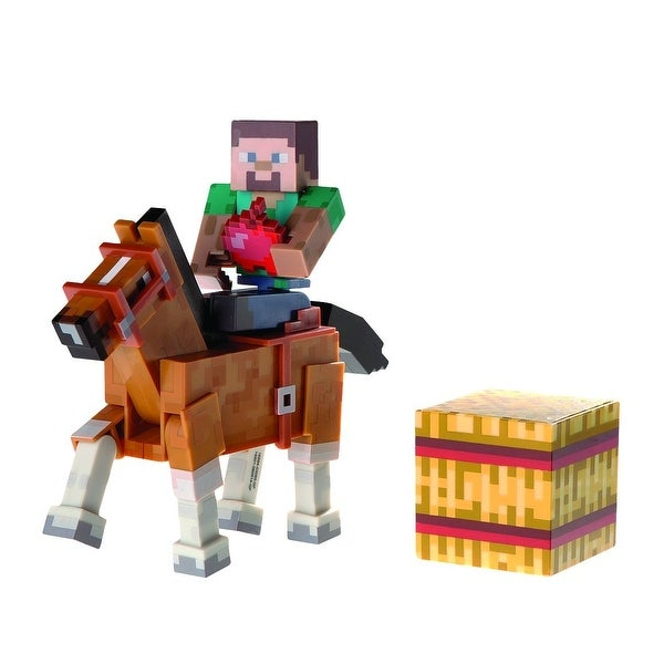 "Minecraft 3"" Action Figure 2-Pack Steve with Brown Horse"