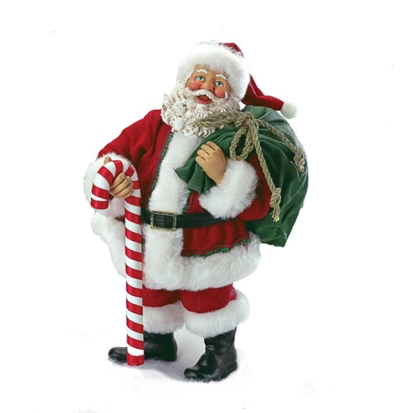 "10"" Fabriché Santa Holding Bag and Candy Cane Christmas Table Top Decoration"