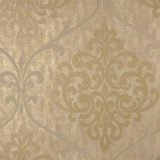 Brewster 2542-20714 Ambrosia Brass Glitter Damask Wallpaper - N/A