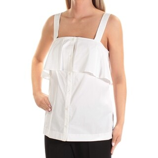 Womens White Sleeveless Square Neck Casual Button Up Top Size XL