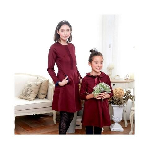 Womens Burgundy Pleated Front Side Pocket Back Zipper Contrast Trim Dress