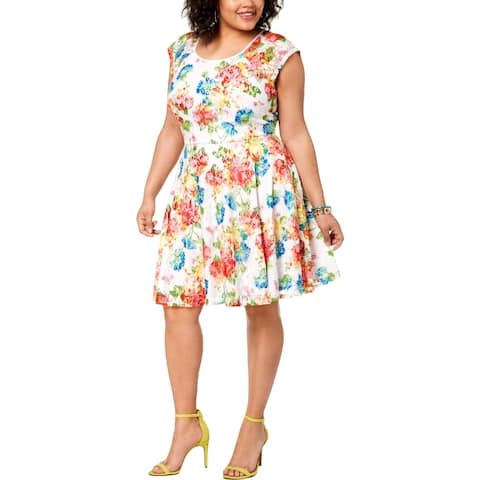 City Studio Womens Cocktail Dress Floral Fit & Flare