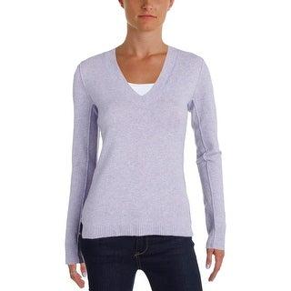 Aqua Cashmere Womens Pullover Sweater Cashmere Ribbed Trim