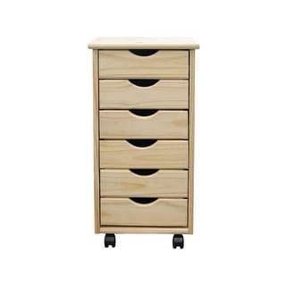 Link to Adeptus Solid Wood 6 Drawer Roll Cart - Unfinished Similar Items in Storage & Organization