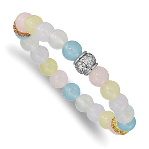 Chisel Stainless Steel Polished Rose and Yellow IP-plated Multicolor Chalcedony Stretch Bracelet