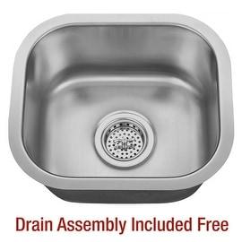 "Miseno MSS1513C 14-5/8"" Undermount Single Basin Stainless Steel Bar / Prep Sink"