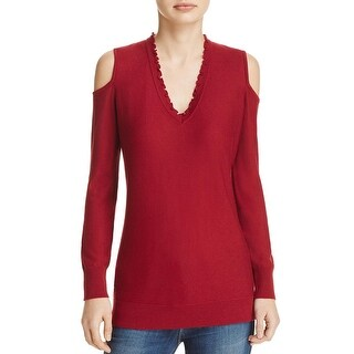 Love Scarlett Womens Pullover Sweater Ribbed Trim V-Neck