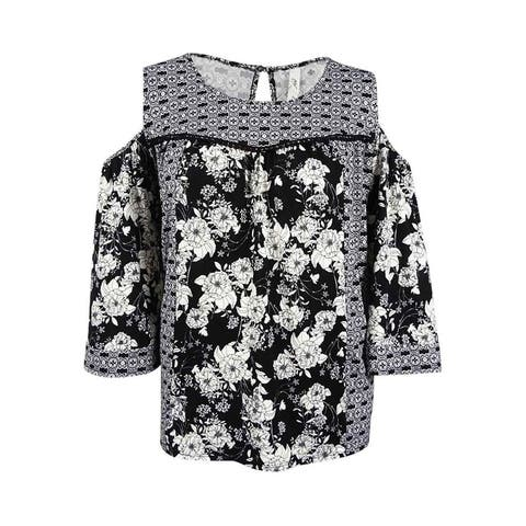 NY Collection Women's Plus Mixed-Print Cold-Shoulder Top (2X, Oxygen Floral) - Oxygen Floral - 2X