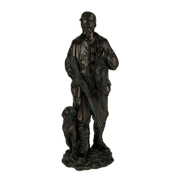 Antique Bronze Finish Bird Hunter and Hound Statue - 9 X 3 X 2.5 inches
