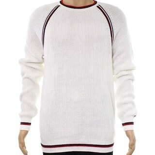 Tommy Hilfiger White Mens Size Large L Crewneck Caleb Sweater