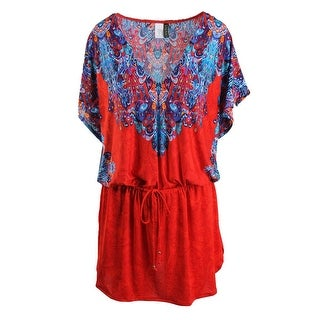 Lauren Ralph Lauren Womens Printed Dolman Sleeves Dress Swim Cover-Up - L