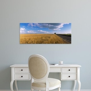 Easy Art Prints Panoramic Images's 'Wheat crop in a field, North Dakota, USA' Premium Canvas Art