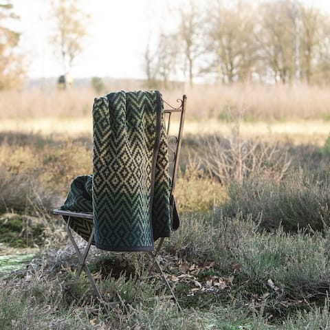 Green and Khaki Mosaic Patterened Velour Throw Blanket Granby by IBENA