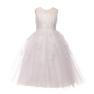 Big Girls White Glitter Applique Tulle Communion Dress