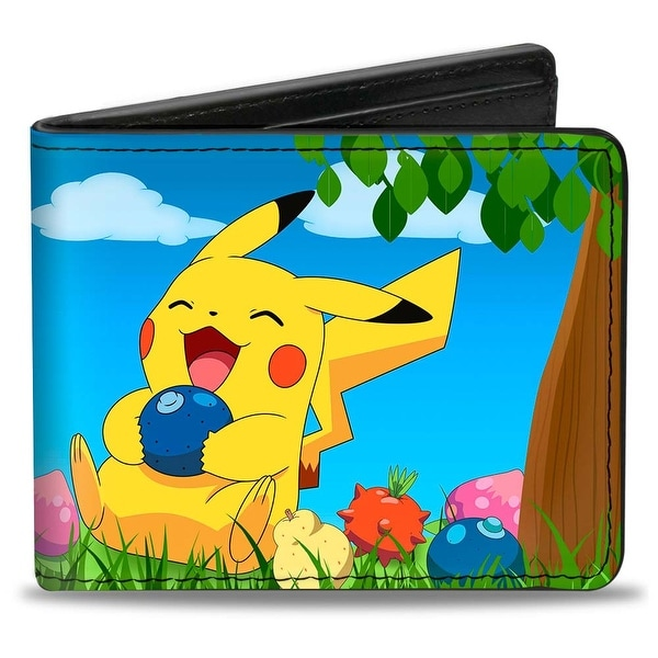 Pikachu Sitting Under Tree Laughing + Pokmon Bi Fold Wallet - One Size Fits most