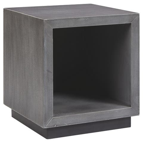 Faux Concrete Accent Table with Open Side Storage and Plinth Base, Gray