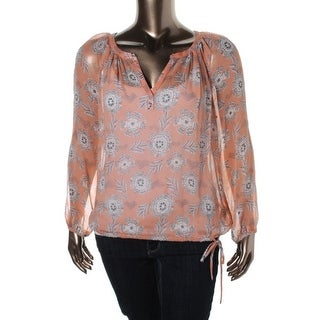 Lucky Brand Womens Silk Printed Pullover Top
