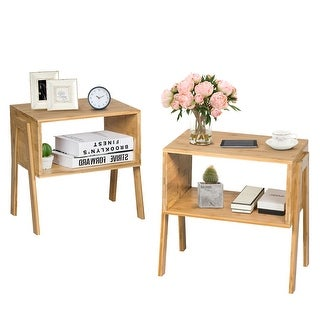 Costway Set of 2 Bamboo Nightstand Stackable Sofa Table Bedside Table with Storage Shelf - As the picture shows