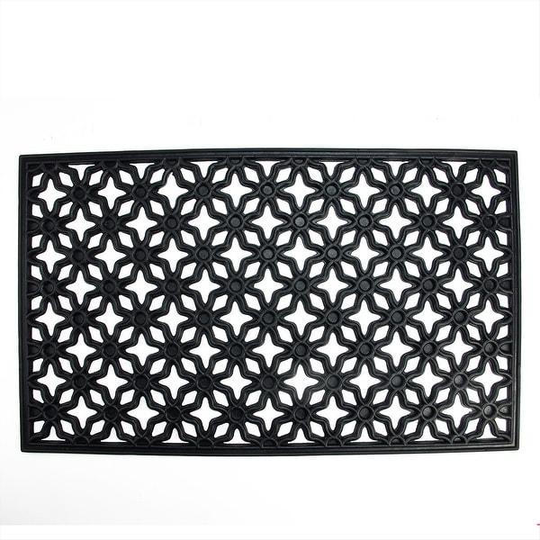 """Decorative Black Rubber Outdoor Rectangular Door Mat 29.5"""" x 17.75"""""""