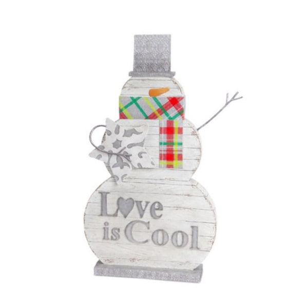 "18"" White and Silver Carved Wood-Look ""Love is Cool"" Snowman Christmas Decoration"